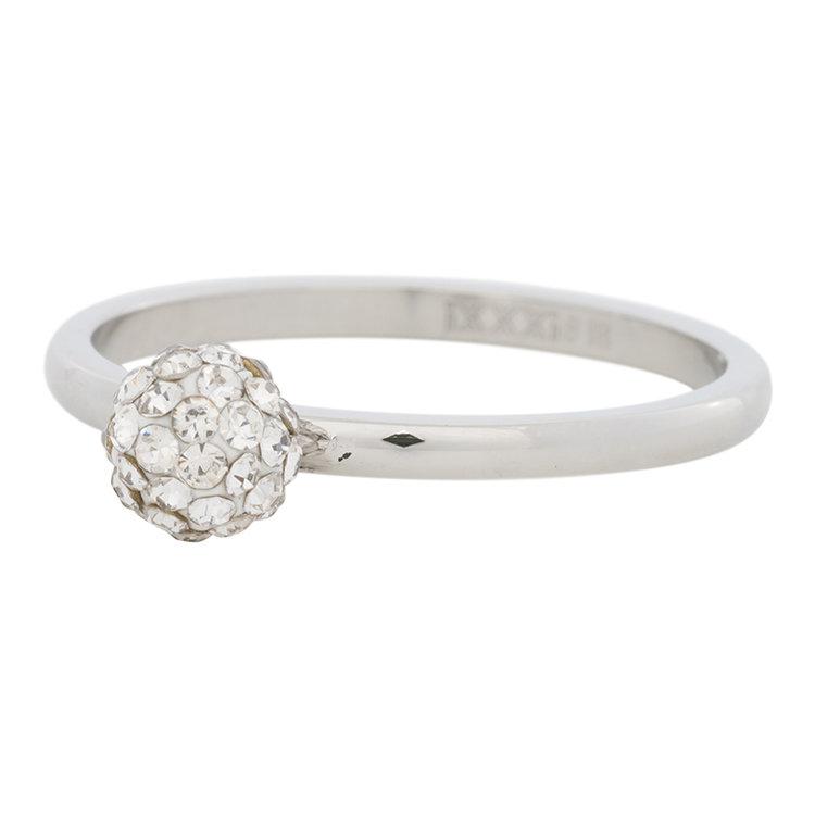 iXXXi Ring 2mm Edelstaal Zilverkleurig Ball Fill Clear Crystal