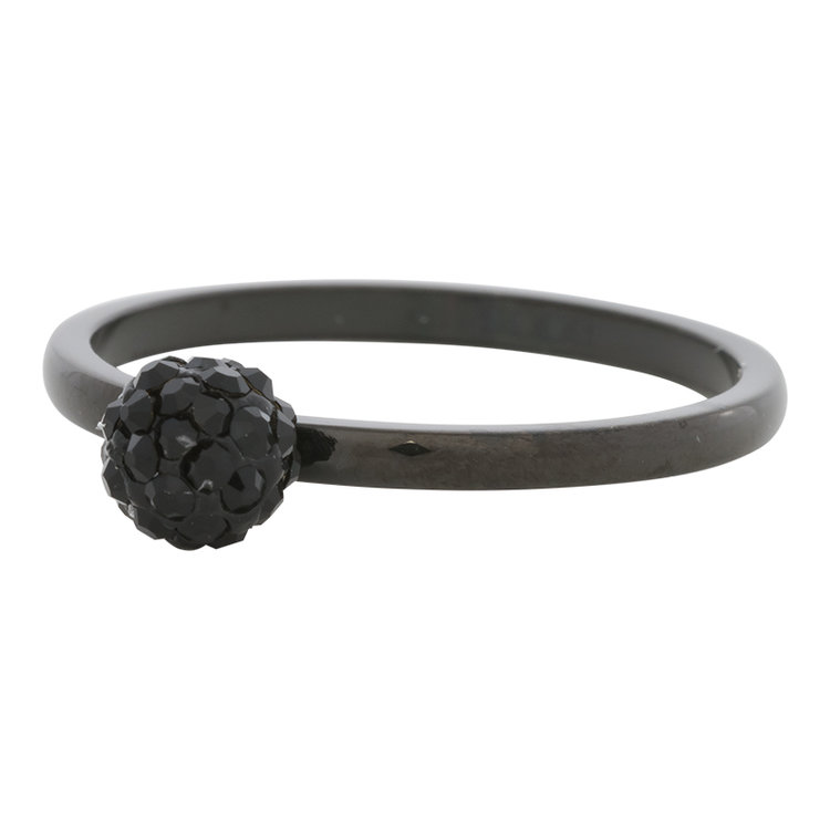 iXXXi Ring 2mm Edelstaal Black Ball Fill Black Crystal