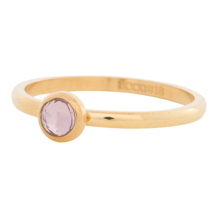 iXXXi Ring 2mm Edelstaal Goudkleurig Natuursteen Pink