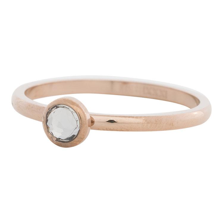 iXXXi Ring 2mm Edelstaal Rose Goud Natuursteen White