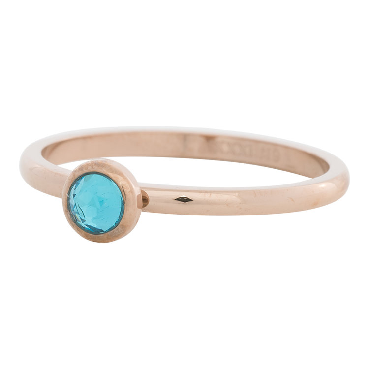 iXXXi Ring 2mm Edelstaal Rose Goud Natuursteen Water Blue