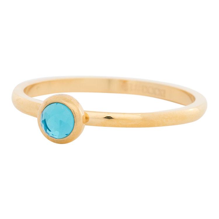 iXXXi Ring 2mm Edelstaal Goudkleurig Natuursteen Water Blue