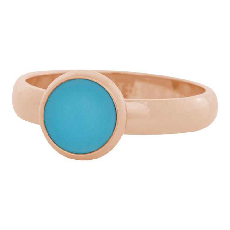 iXXXi Ring 4mm Edelstaal Rose Goud 10mm Cateye Aqua