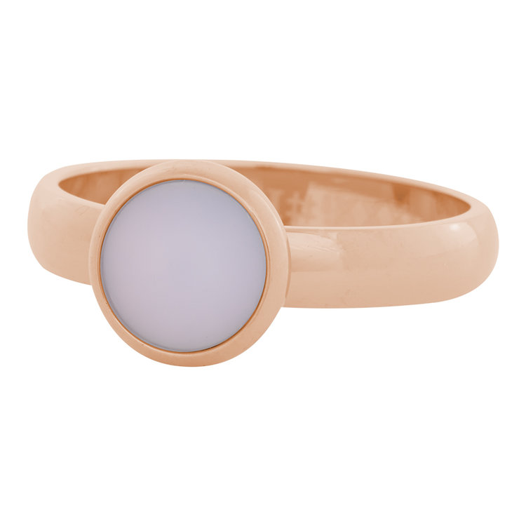 iXXXi Ring 4mm Edelstaal Rose Goud 10mm Cateye Pink