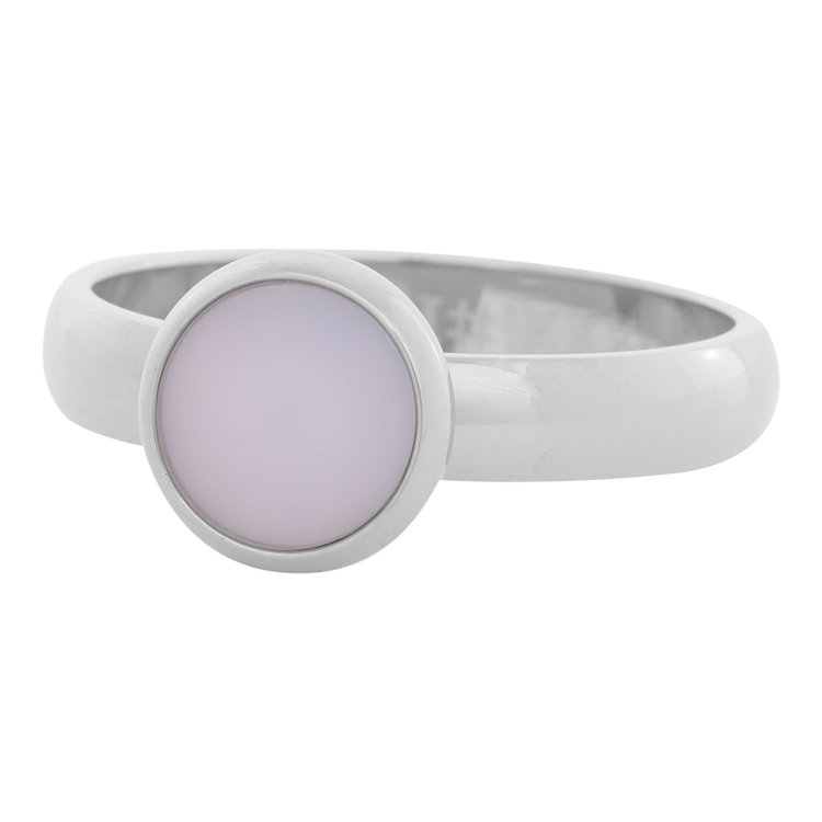 iXXXi Ring 4mm Edelstaal Zilver 10mm Cateye Pink