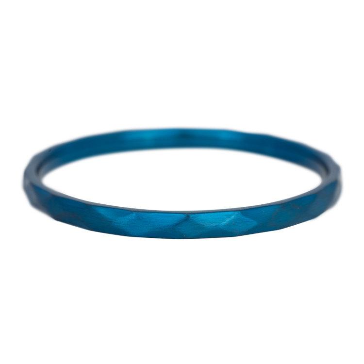 iXXXi Ring 2mm Edelstaal Hamerslag Blauw
