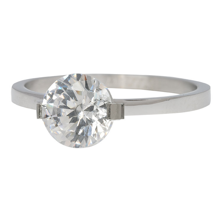 iXXXi Ring 2mm Edelstaal Zilver Glamour Stone Crystal