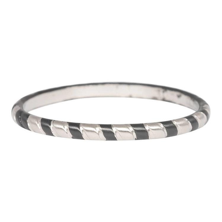 iXXXi Ring 2mm Rope Edelstaal Zilver en Zwart