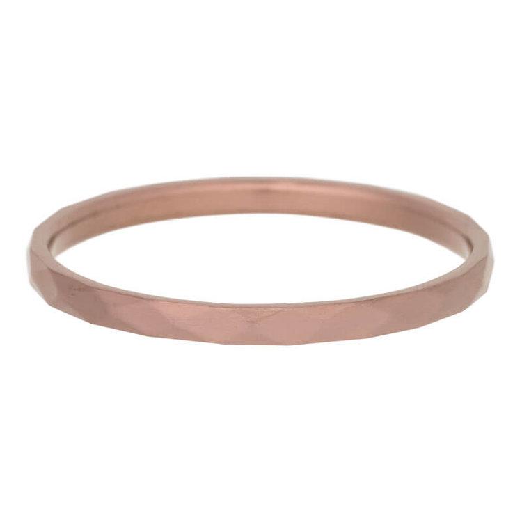 iXXXi Ring 2mm Edelstaal Hamerslag Bruin