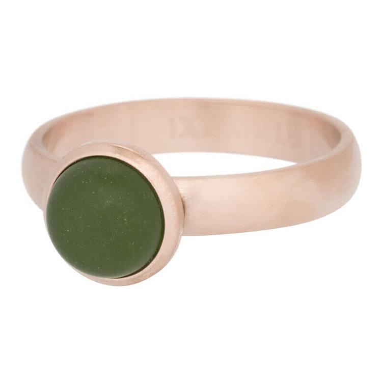 iXXXi Ring 4mm Edelstaal Mat Rose Goud 10mm Cateye Olivana
