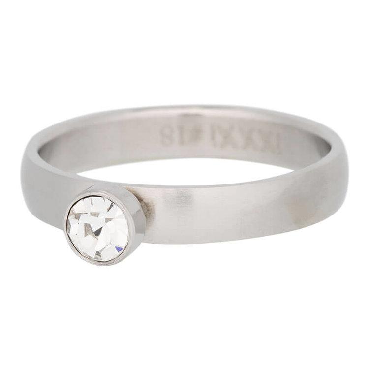 iXXXi Ring 4mm Edelstaal Mat Zilver Diamant Zirkonia Crystal