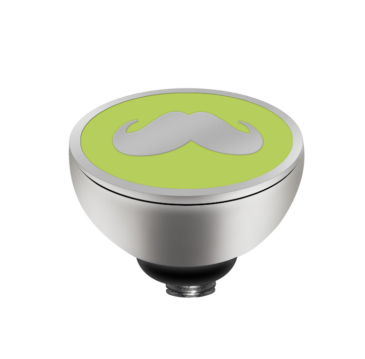 MelanO Twisted Girls Setting Edelstaal Zilver Mr. Moustache Light Green