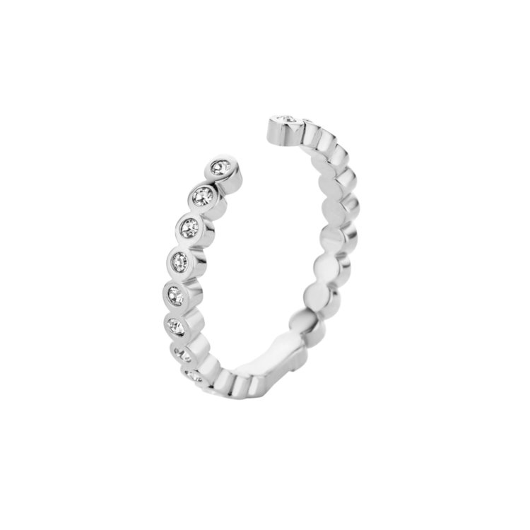 MelanO Twisted Ring Tina Edelstaal Zilver Zirkonia Crystal
