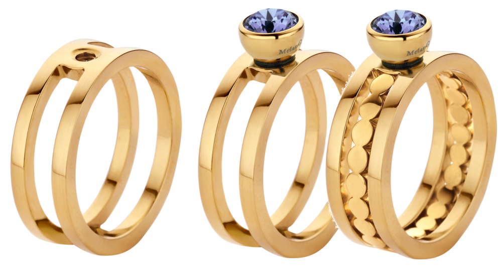 MelanO Twisted Ring Trista Edelstaal Goud