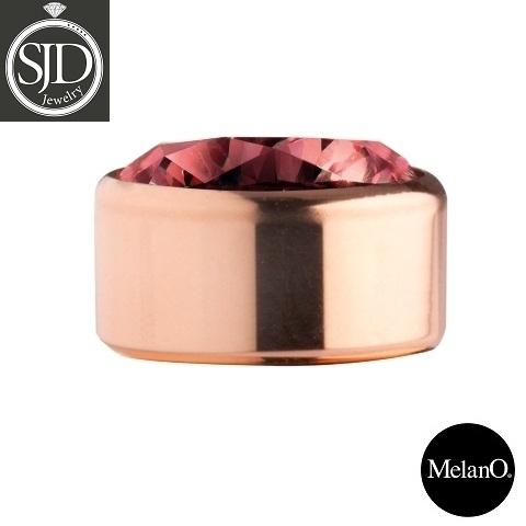 MelanO Stainless Steel Setting Rose Gold Zirkonia Dark Red