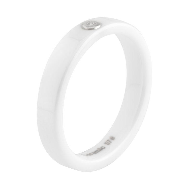 MelanO Keramische ring & Diamant Wit