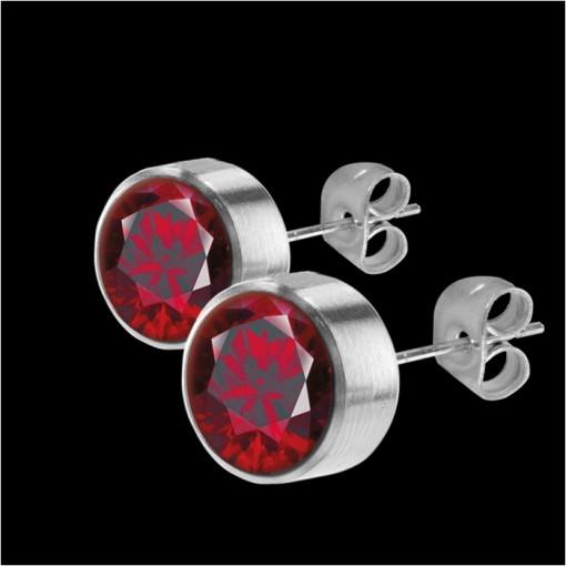 MelanO Stainless Steel Oorknoppen Zirkonia Dark Red