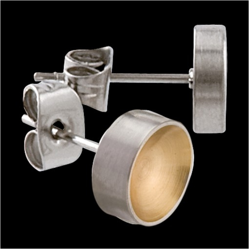 MelanO Stainless Steel Oorknoppen Round Goldplated