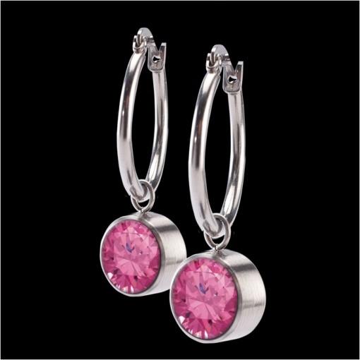 MelanO Stainless Steel accessoire 8mm Zirkonia Pink Oorringen