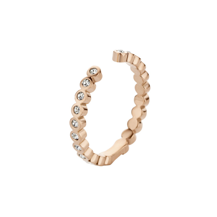 MelanO Twisted Ring Tina Edelstaal Rose Goud Zirkonia Crystal