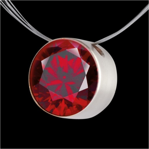 MelanO Stainless Steel Zirkonia Hanger Dark Red
