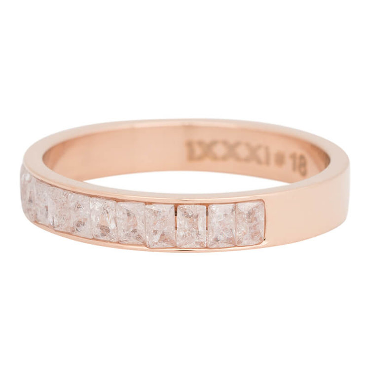 iXXXi Ring 4mm Edelstaal Snow Glitter  Rose Goud