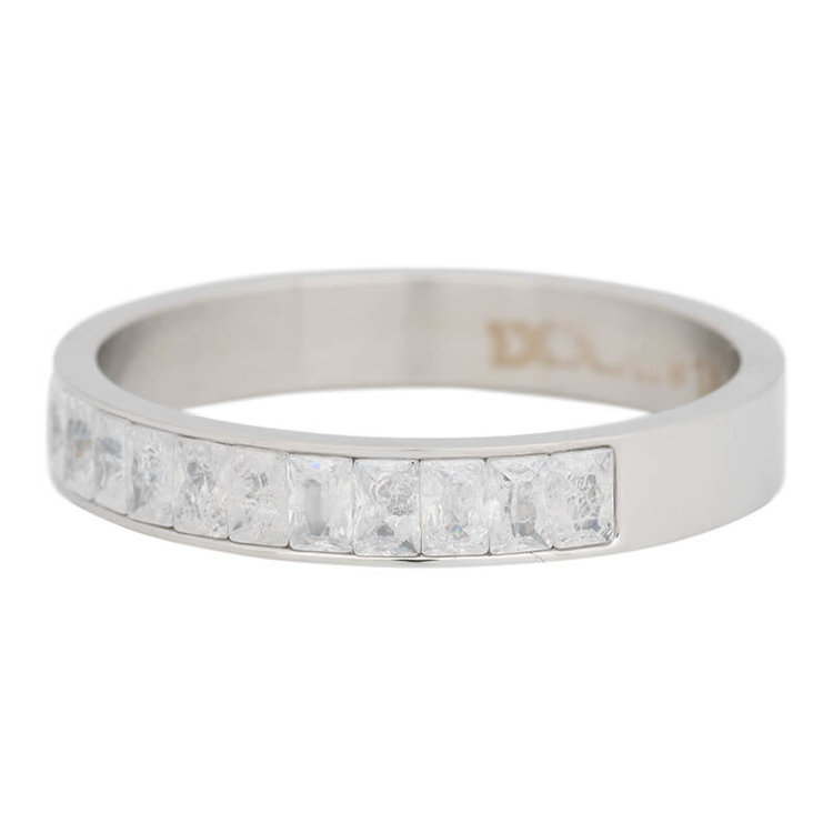 iXXXi Ring 4mm Edelstaal Snow Glitter  Zilver