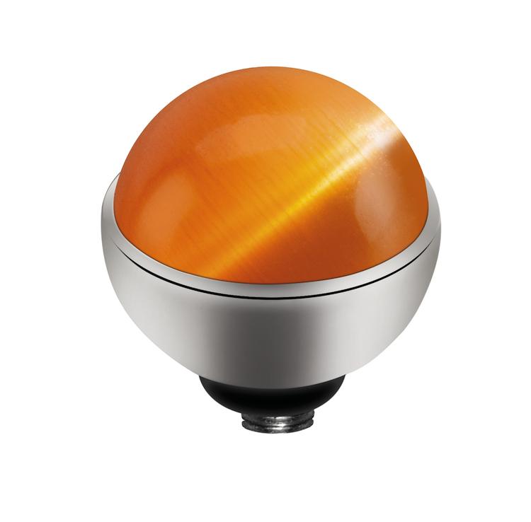 MelanO Twisted Cateye Setting Edelstaal Zilver Orange