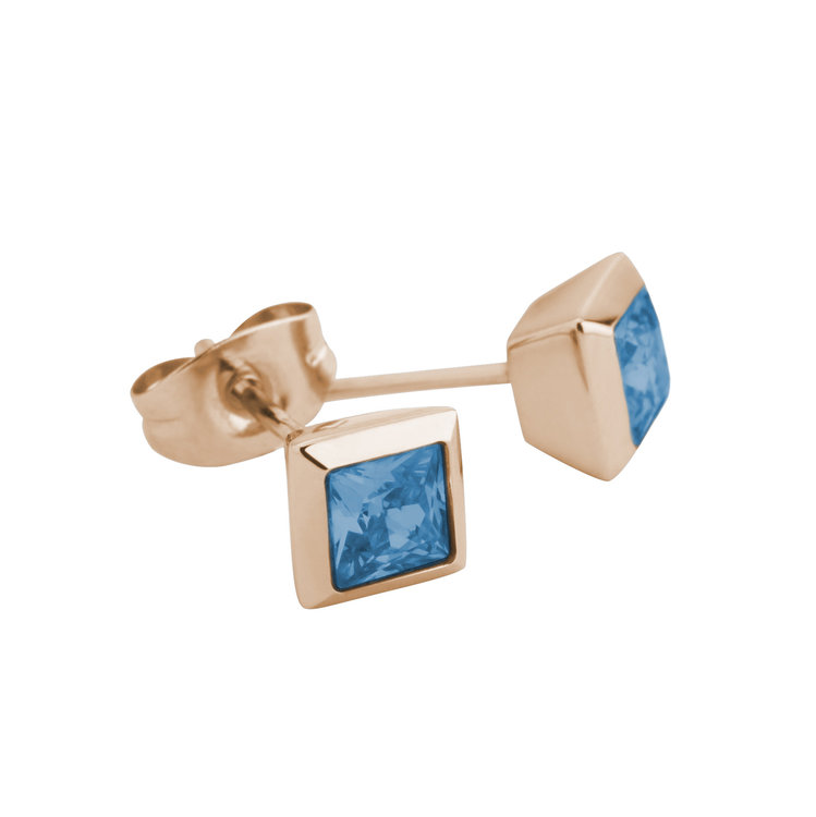 Melano Square Earstuds Liza Stainless Steel Rose Gold-coloured Zirkonia Spinel