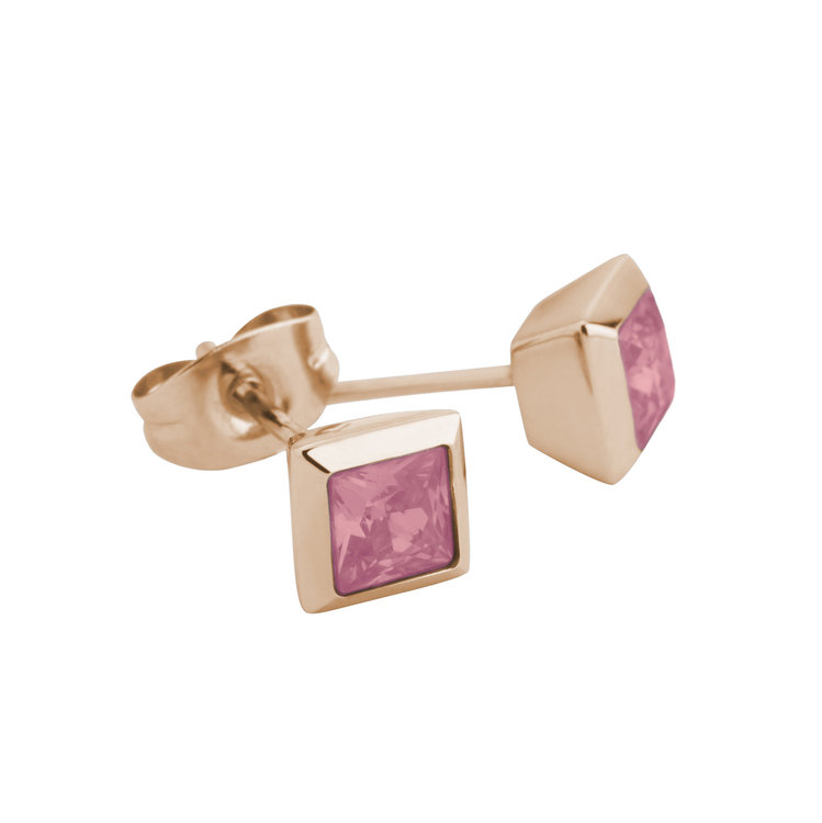 Melano Square Earstuds Liza Stainless Steel Rose Gold-coloured Zirkonia Red