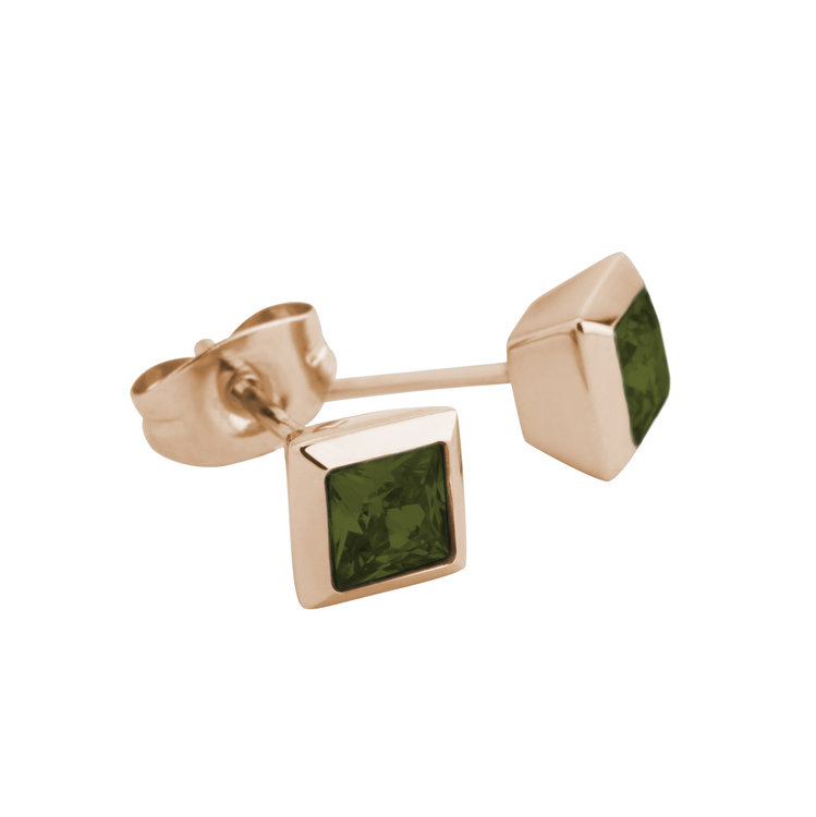 Melano Square Earstuds Liza Stainless Steel Rose Gold-coloured Zirkonia Olive