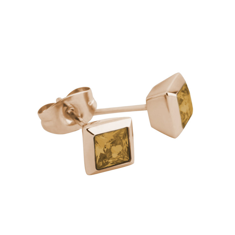 Melano Square Earstuds Liza Stainless Steel Rose Gold-coloured Zirkonia Ochre