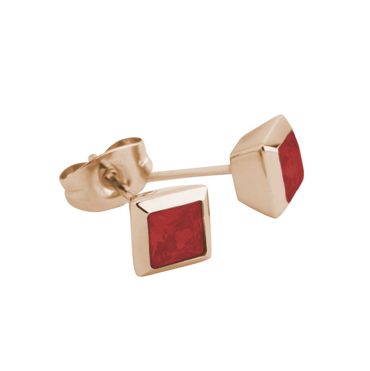 Melano Square Earstuds Liza Stainless Steel Rose Gold-coloured Zirkonia China Red