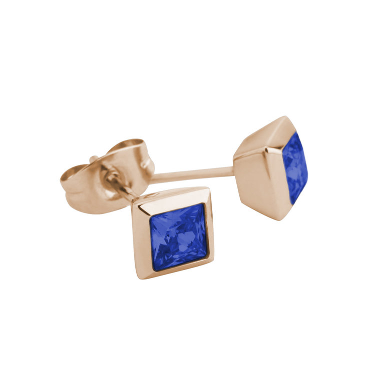 Melano Square Earstuds Liza Stainless Steel Rose Gold-coloured Zirkonia Blue