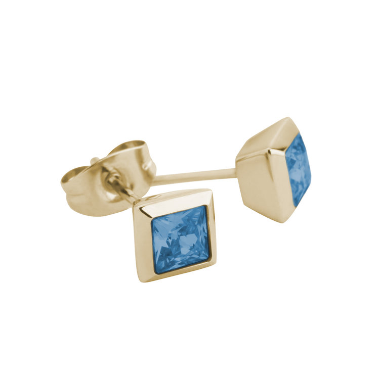 Melano Square Earstuds Liza Stainless Steel Gold-coloured Zirkonia Spinel