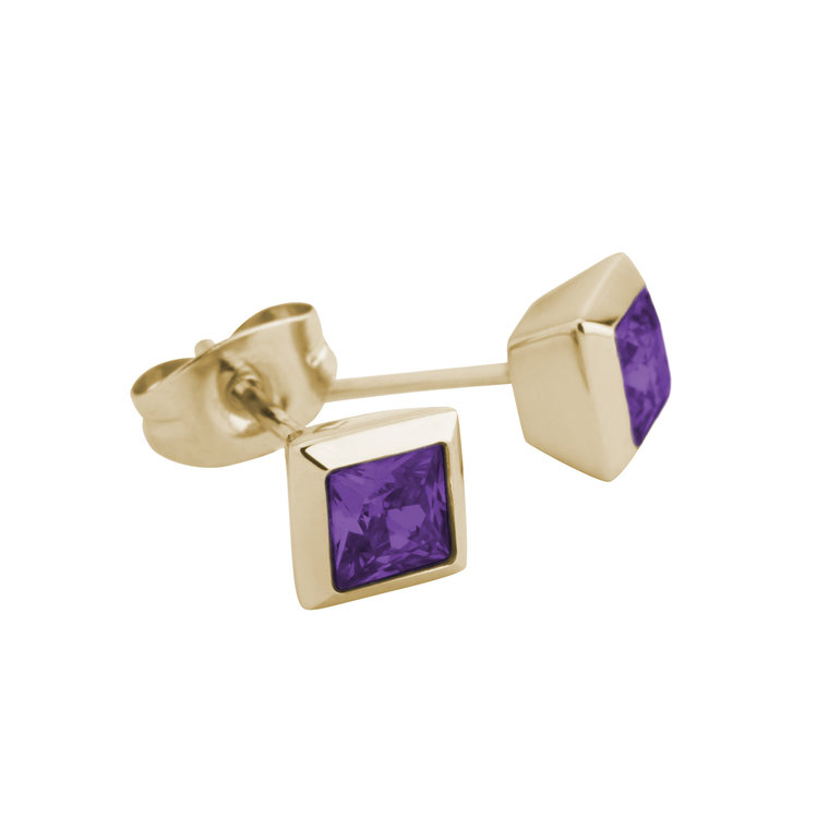 Melano Square Earstuds Liza Stainless Steel Gold-coloured Zirkonia Purple