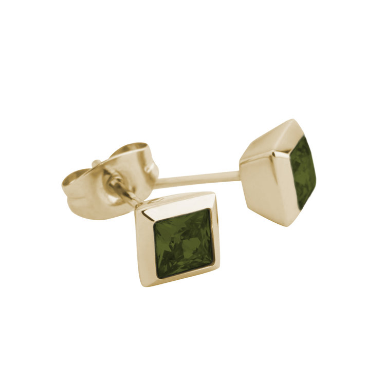 Melano Square Earstuds Liza Stainless Steel Gold-coloured Zirkonia Olive