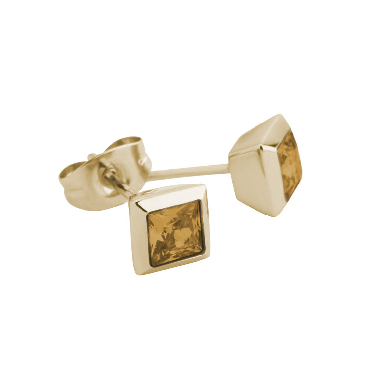 Melano Square Earstuds Liza Stainless Steel Gold-coloured Zirkonia Ochre