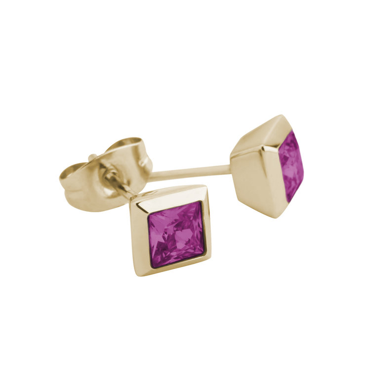 Melano Square Earstuds Liza Stainless Steel Gold-coloured Zirkonia Fuchsia