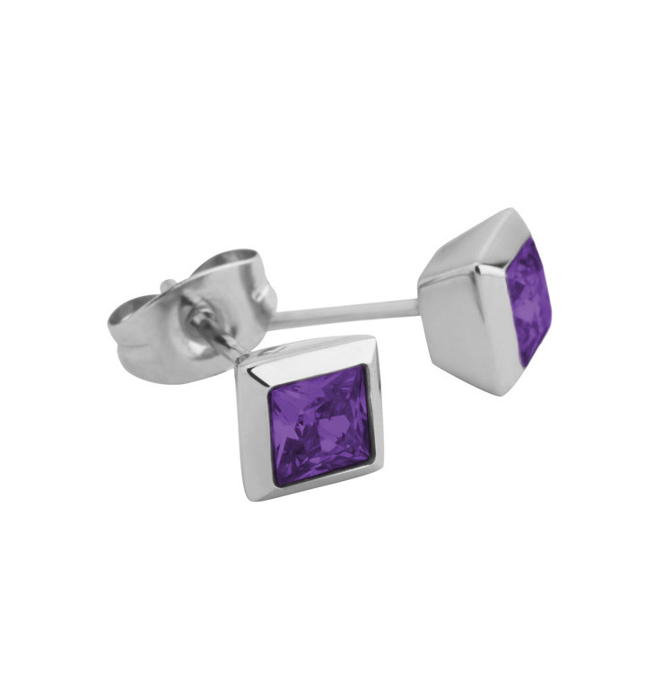 Melano Square Earstuds Liza Stainless Steel Silver-coloured Zirkonia Purple