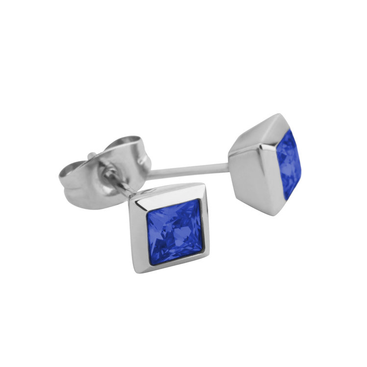 Melano Square Earstuds Liza Stainless Steel Silver-coloured Zirkonia Blue