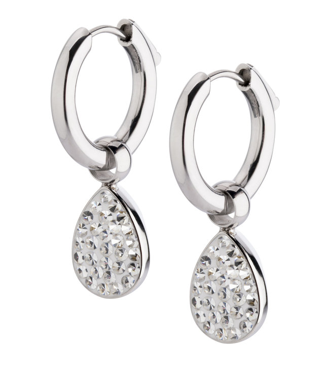 Melano Emma Oorbelhangers Edelstaal Zilverkleurig Zirkonia Crystal incl Creolen.