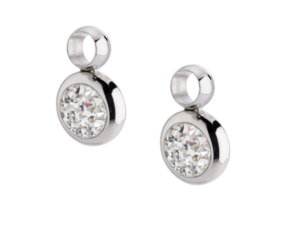 Melano Gina Oorbelhangers Edelstaal Zilverkleurig Zirkonia Crystal