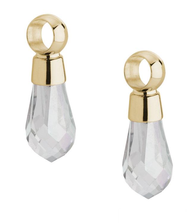 Melano Angelina Oorbelhangers Edelstaal Goudkleurig Swarovski Crystal