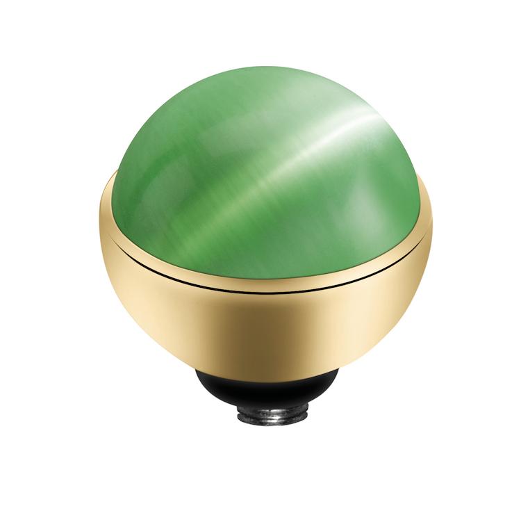 MelanO Twisted Cateye Setting Edelstaal Goud Light Green