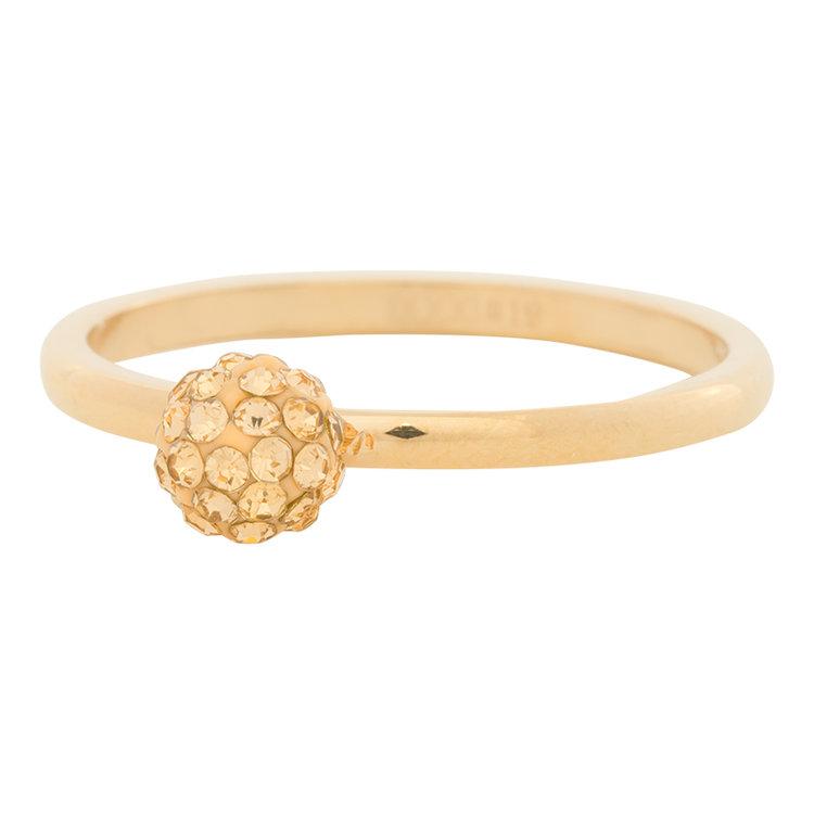 iXXXi Ring 2mm Edelstaal Goudkleurig Ball Fill Gold Crystal