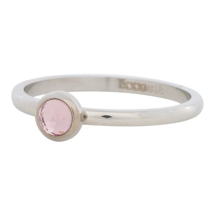 iXXXi Ring 2mm Edelstaal Zilverkleurig Natuursteen Pink
