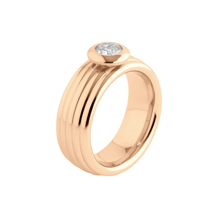 Melano Vivid Edelstaal Ring Rose Goudkleurig Vera 8mm breed