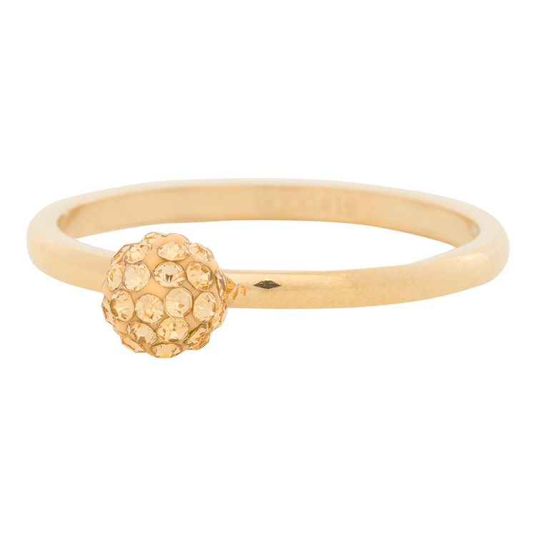 iXXXi Ring 2mm Edelstaal Goudkleurig Ball Fill Gold-coloured Crystal