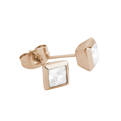 Melano Square Earstuds Liza Stainless Steel Rose Gold-coloured Zirkonia White